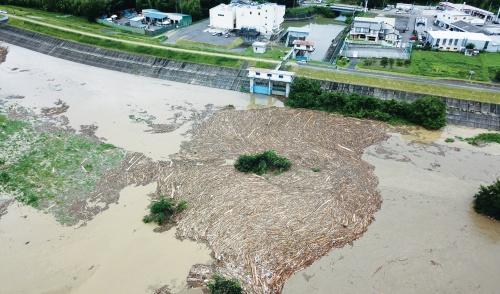 写真2■ 豪雨の影響で多数の流木が観測された木曽川の様子。18年7月8日に国際航業がドローンで撮影(写真:国土交通省)