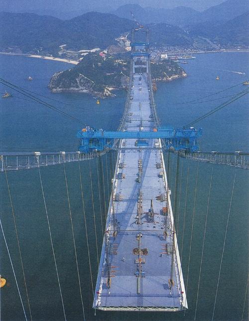 1997年に撮影した来島第一大橋の架設状況。第二・第三大橋と併せて、世界初の3連吊り橋となる来島海峡大橋を構成している(写真:日経コンストラクション)