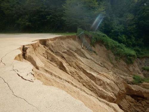 写真2■ 勝負迫下池の上流で崩壊したグラウンド (写真:農業・食品産業技術総合研究機構)