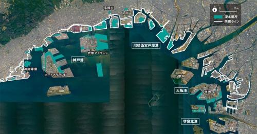 図1■ 大阪湾に歴史的な浸水被害をもたらした台風21号(資料:Google、国土交通省)