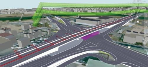 図1■ 大樋橋西高架橋のCIMモデル。上に見える緑色のチューブは、電線からの離隔距離を示したもの(資料:国土交通省岡山国道事務所)