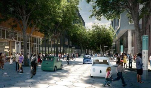 図1■ 自動運転車が行き交う近未来の都市像を描く