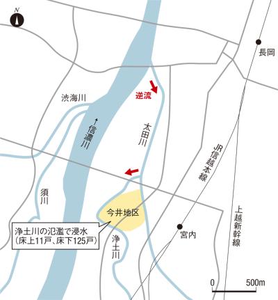 図1■ 信濃川支流で想定外のバックウオーター現象