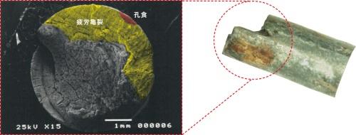 写真3■ 腐食疲労で破断したケーブル鋼線の例。わずかな範囲に孔食が生じたことで応力集中による疲労亀裂が進行し、破断に至った(写真:中村 俊一)