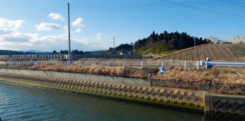写真1■ 津波で被災した後、復旧工事を終えた護岸。河口から200mほどの地点にある。強度不足などが判明したが、2020年3月時点で是正工事の方法は決まっていない(写真:南相馬市)