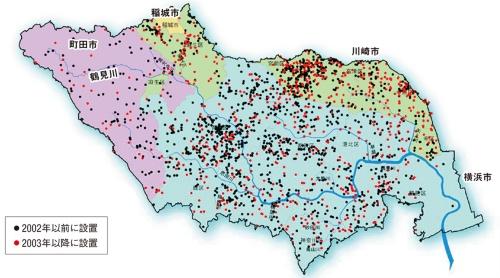 図1■ 鶴見川流域には約4900の調整池がある