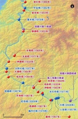 図1■ 約50kmの区間で古い橋が相次いで落ちる