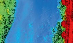 図1■ 河川の底の地形を空から3次元計測できる