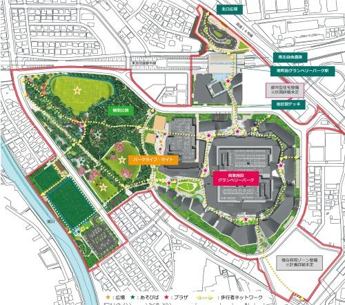 図1■ 駅と公園、商業施設を一体整備