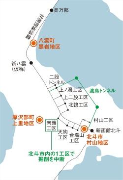 図2■ 渡島トンネルで掘削中断