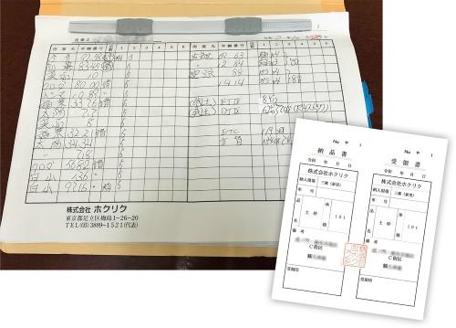 写真1■ 建設残土の搬出について手書きでまとめた記録。右は、残土の搬出入で使う伝票の例(写真:日経コンストラクション)