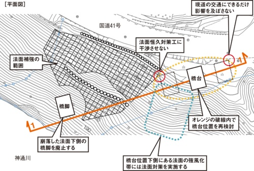 図1■ 造りかけの橋脚を廃止して橋桁を延長することに