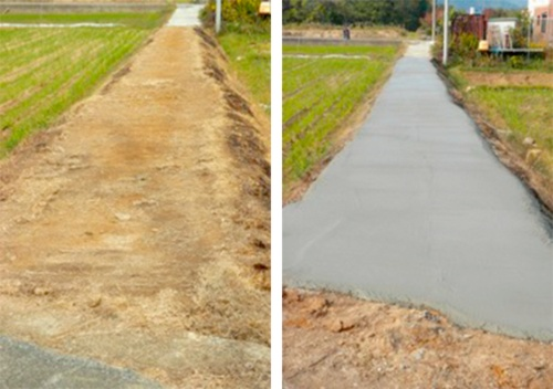 写真1■ 資材支給事業で住民が施工する前と後の道路(写真:下條村)