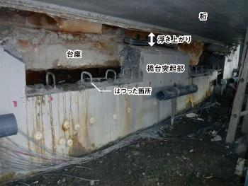 写真3■ 桁下の様子。橋台突起部をはつって鉛直PC鋼棒の状態を確認した