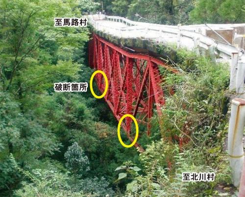 写真1■ 斜材が4カ所同時に破断した犬吠橋。トラス構造が波打った。現在も通行止めが続いている(写真:高知県)