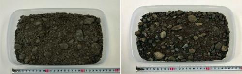 写真1■ 再生粒度調整砕石(写真左)を使うべき所に、再生クラッシャーラン(右)を使っていた(写真:日鉄パイプライン&エンジニアリング)