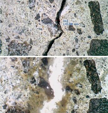 写真2■ コンクリートのひび割れ部に納豆菌を混入した補修材を注入して観察した様子。下は2週間が経過後。炭酸カルシウムで修復されている。グルコースとアルカリ緩衝溶液を加えている(写真:愛媛大学)