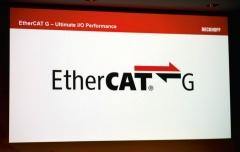 プレスカンファレンスで発表した「EtherCAT G」のロゴ