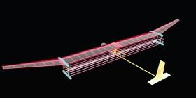 MIT開発のイオンエンジン「ionic wind」利用の機体イメージ。陽極と陰極にそれぞれ4本ずつの電線を利用する。(出所:Courtesy of the researchers)