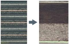 電極を構成する金属箔(薄い層)に塗ったスラリーを既存品(左の断面写真)よりも約5倍厚くした新型(右)では、少ない層数(金属箔数)で済み、スラリーの密度を高められる(写真:24M)