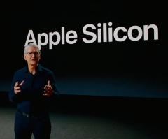 Mac向け自社製プロセッサーを発表するApple CEOのティム・クック氏(画像:WWDC20での基調講演をキャプチャーしたもの)