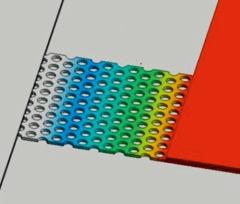 フォノニック結晶を搭載したSiの熱伝導シミュレーション結果(図:パナソニック)