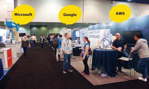 図2 Microsoft、Google、AWSが展示会場にブースを設置