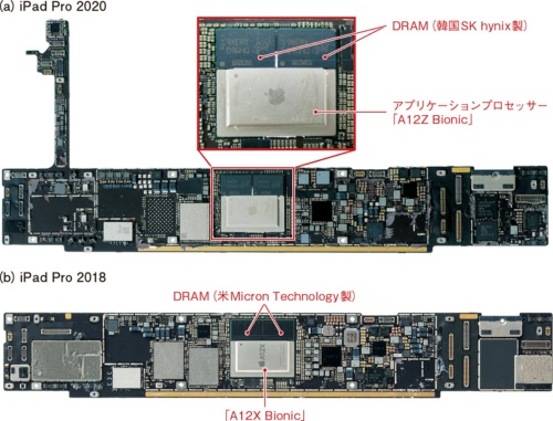 図1 ほとんど違いの分からない新旧iPad Proのアプリケーションプロセッサー