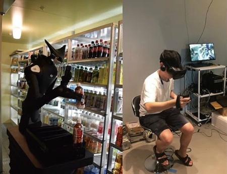 コンビニの店舗で「Model-T」がペットボトル飲料を陳列している様子(左)。オペレーターはTelexistenceの本社で操作している(右)。この店舗は試験導入したファミリーマート。(写真:TelexistenceがYouTubeに掲載した動画からキャプチャー)