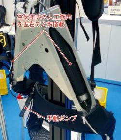(b)空気圧式人工筋肉を搭載した内部