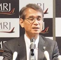 図1 ジェット旅客機「MRJ」の状況について語る三菱航空機社長の水谷久和氏