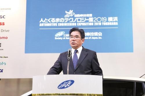 開会宣言する自動車技術会会長の坂本秀行氏(出所:自動車技術会)