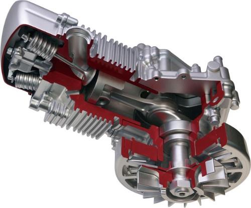 愛三工業は、1気筒のエンジンで駆動する48V小型発電機を試作した。小型モビリティーやドローンへの搭載を想定する。ドローンに載せた場合の飛行可能時間は数時間ほどと、電池の数倍になるとする。(写真:日経 xTECH)