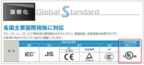 図2 UL規格への対応を宣伝するカタログ