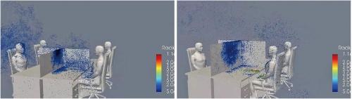 図1 間仕切りがある席でせきをした場合のシミュレーション
