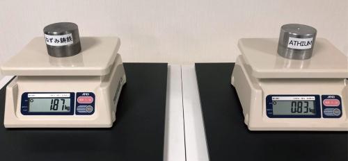 図2 同じ体積のサンプルの質量比較