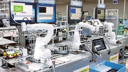 図1 COBOTTA導入で自動化したICカードリーダー生産