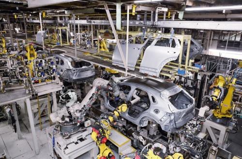 図1 マツダの新車体生産ライン「フレキシブルモジュールライン」