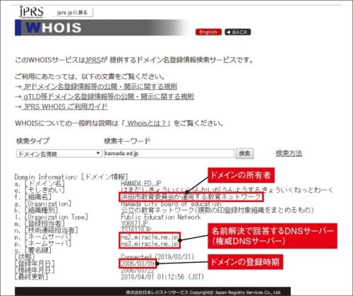 図1-2●WHOISサービスを使ってhamada.ed.jpのドメイン情報を調査