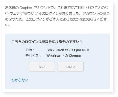 図A-2●Dropboxの ログイン確認メールの例