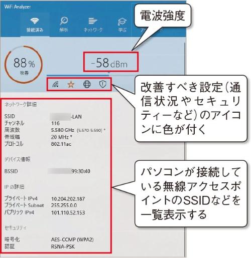 図7●無線LANに関する情報が一覧表示される