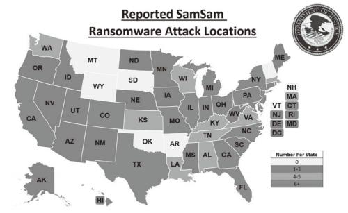図2●米司法省が公開した米国内のSamSamによる被害分布