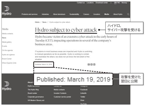 図1●サイバー攻撃被害を発表したノルスク・ハイドロのリリース
