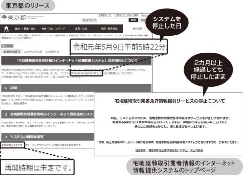 図1●不正アクセス被害を発表した東京都のリリースと被害を受けた検索システム