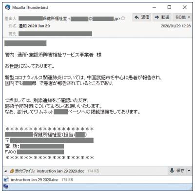 図1●保健所をかたる攻撃メールの例