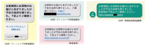 図1●偽サイトに誘導するSMSメッセージが急増