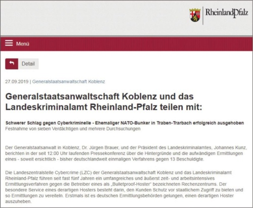 図3●ドイツ ラインラント・プファルツ州警察のプレスリリース