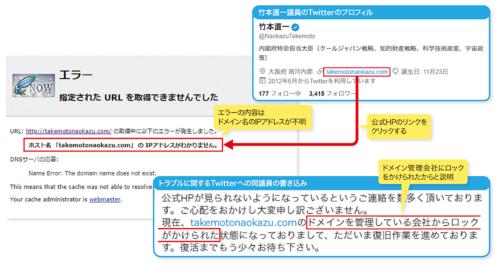 図2-1●竹本直一衆院議員の公式HPが表示されなくなるトラブル