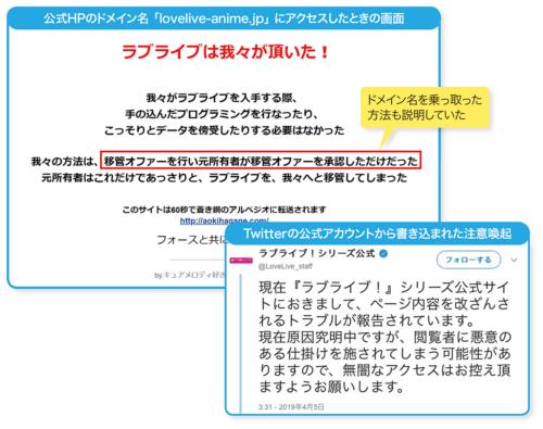 図4-1●アニメ「ラブライブ!」の公式HPが乗っ取り被害