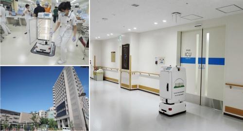 図1 病院内でロボットが検体を搬送